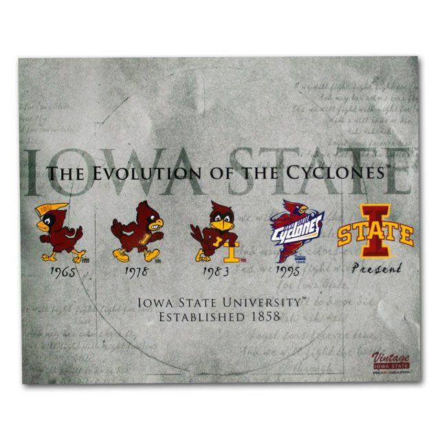 Evolution Of The Cyclones Print 16x20 Iowa State University