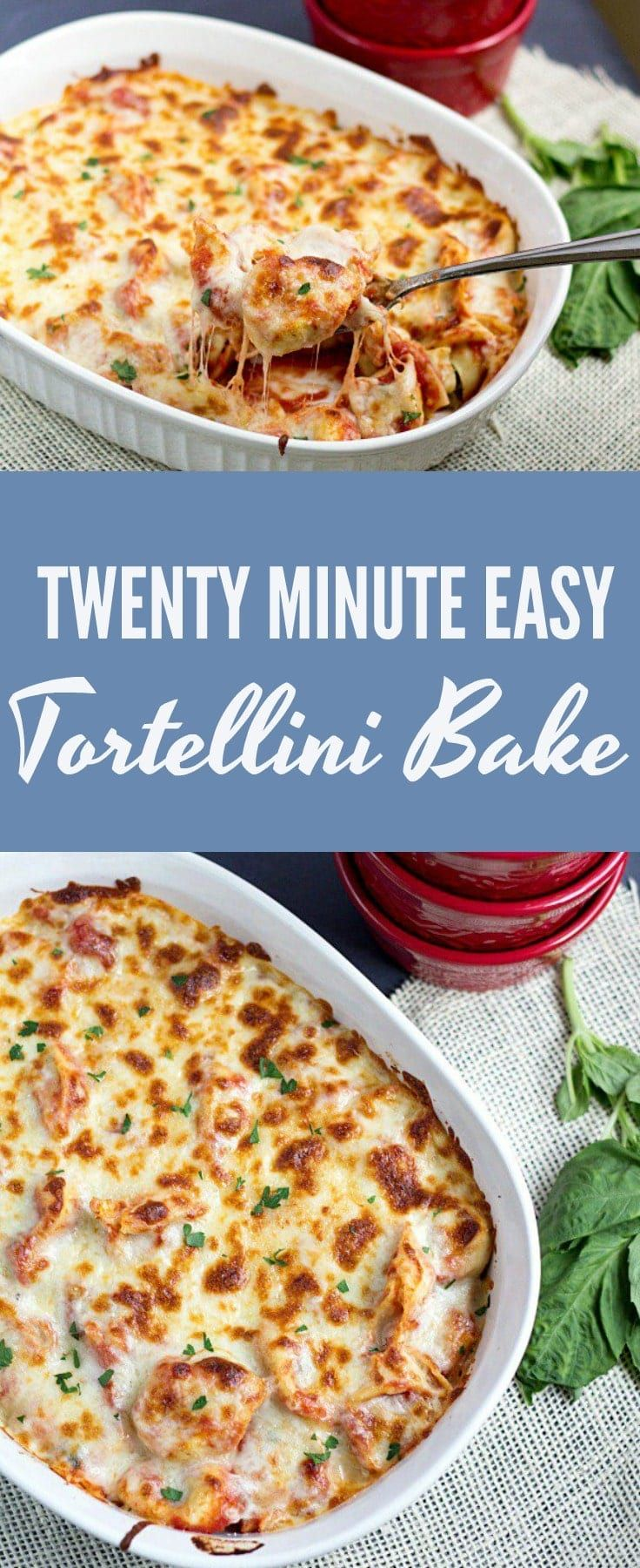 Twenty Minute Easy Tortellini Bake is a perfect weeknight dinner recipe. You'll have minimal cleanup and a delicious, cheesy dinner that everyone will love! #pasta #tortellini #dinner #recipe #cheese