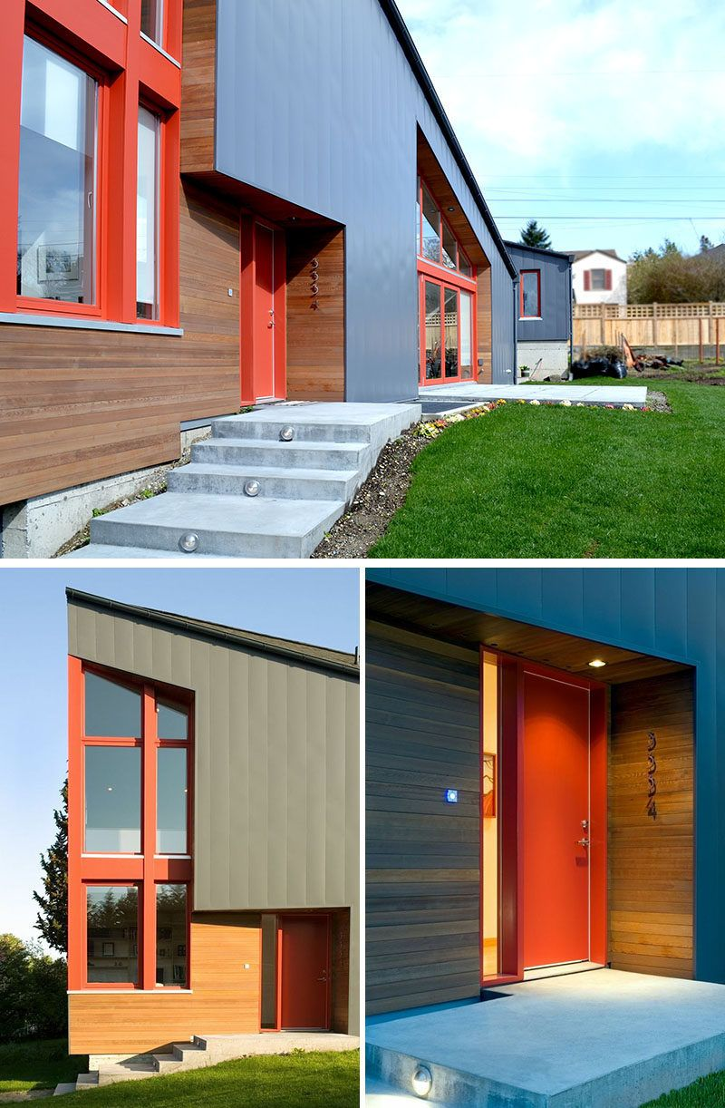 Large Exterior Plan For Modern Homes In Mix Colors: This New House In Seattle Was Designed With A Large Sloping Roof And Double Height Windows