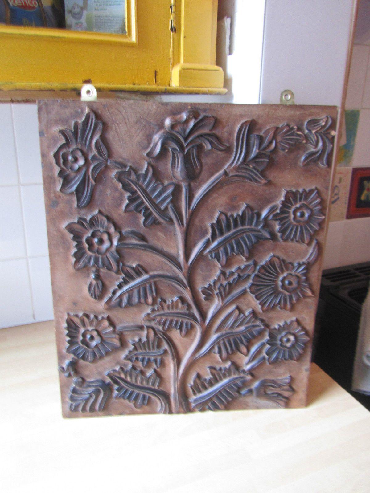 Wooden Floral Plaque Panel Sign Art Nouveau Style Printing Block Feature item | eBay