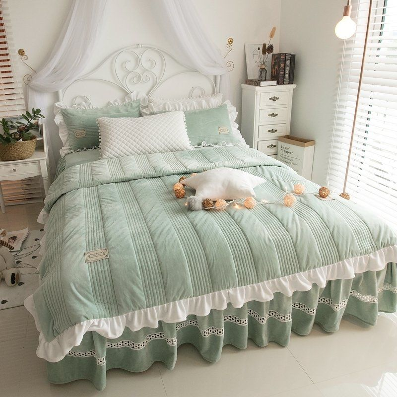 Luxurious Sage Green And White Simply Shabby Chic Ruffle Feminine Stripe Quilted Flannel Twin Ful Sage Green Bedding Set Green Bedding Set Ruffle Bedding Sets