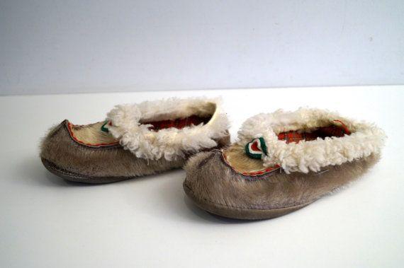 6ee83f4a12feb Vintage kids slippers Real fur slippers Reindeer slippers ...