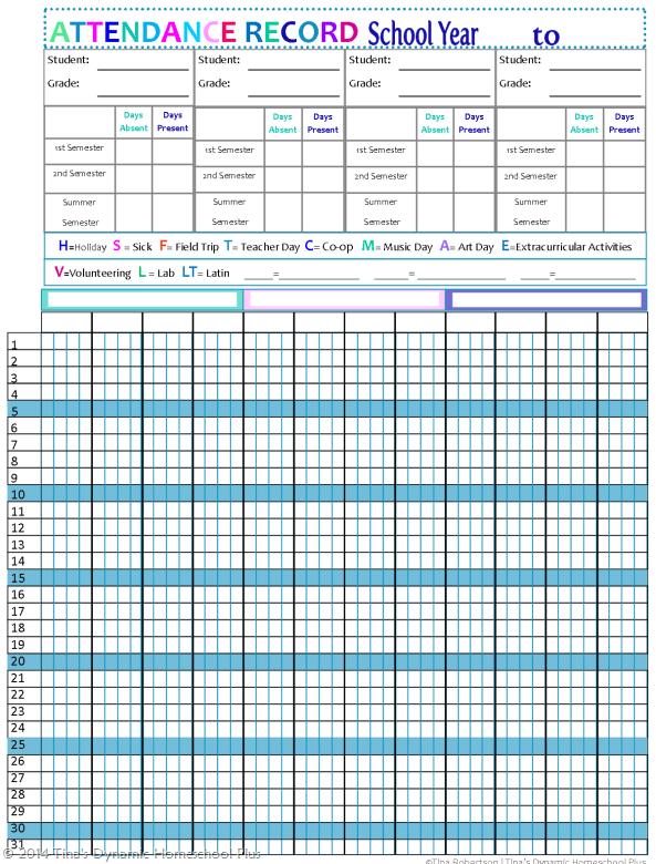 updated homeschool attendance forms