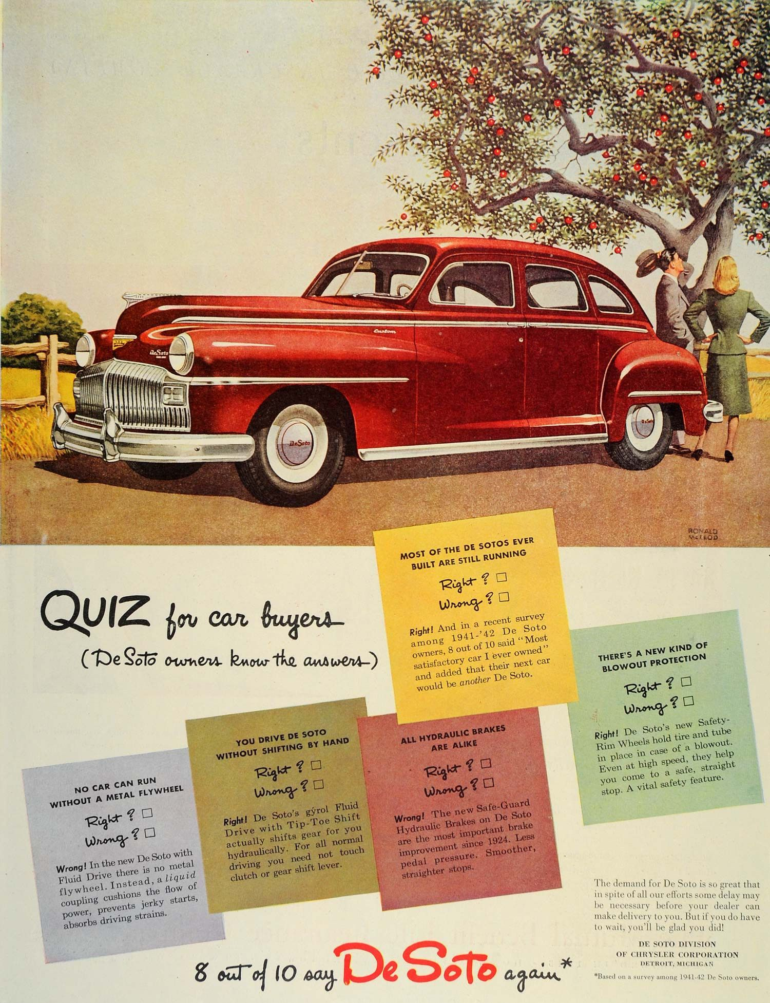 1946 Ad Chrysler DeSoto Red Car Quiz Detroit Michigan - ORIGINAL ...