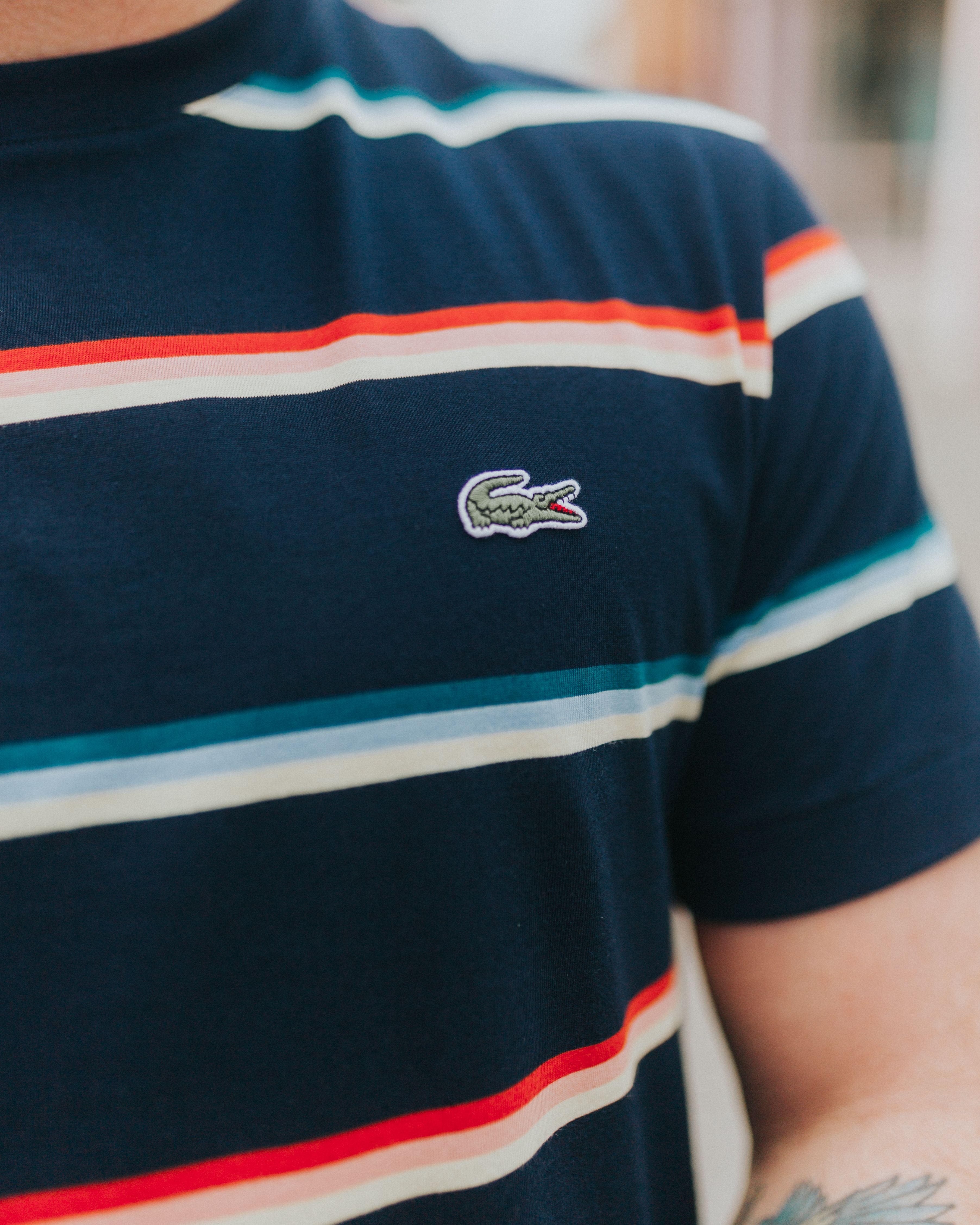 137783185020 Lacoste Crew Neck Colour Striped Soft Cotton T-Shirt   Navy Blue / White £
