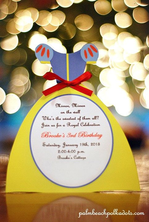 princess birthday snow white invitation by by palmbeachpolkadots, Birthday invitations
