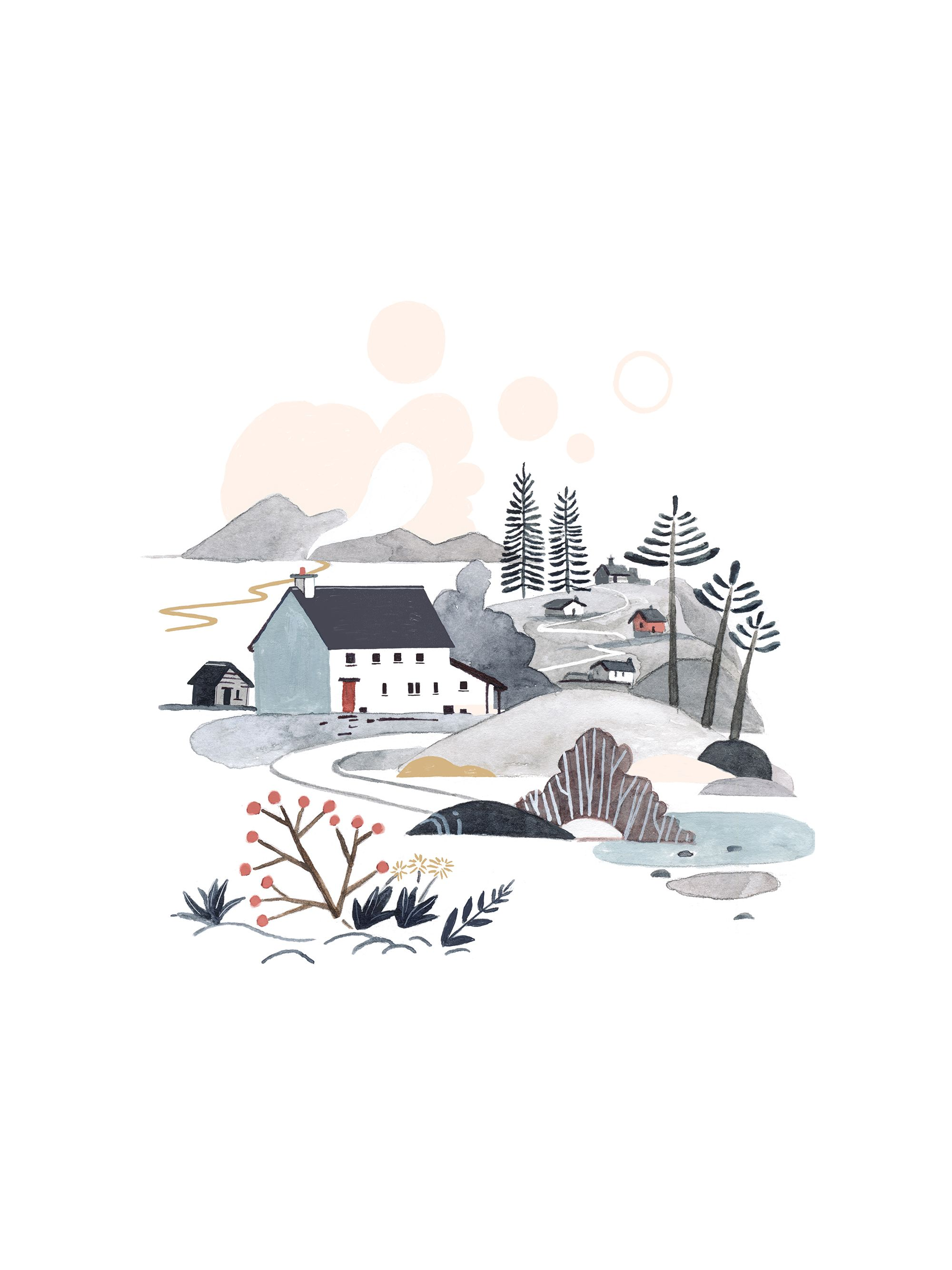 Cosy Cottages Art Print