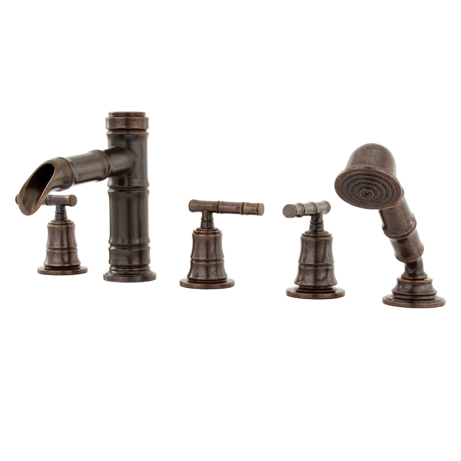 Pegasus Bamboo 3-Handle Roman Tub Faucet with Hand Shower in ...