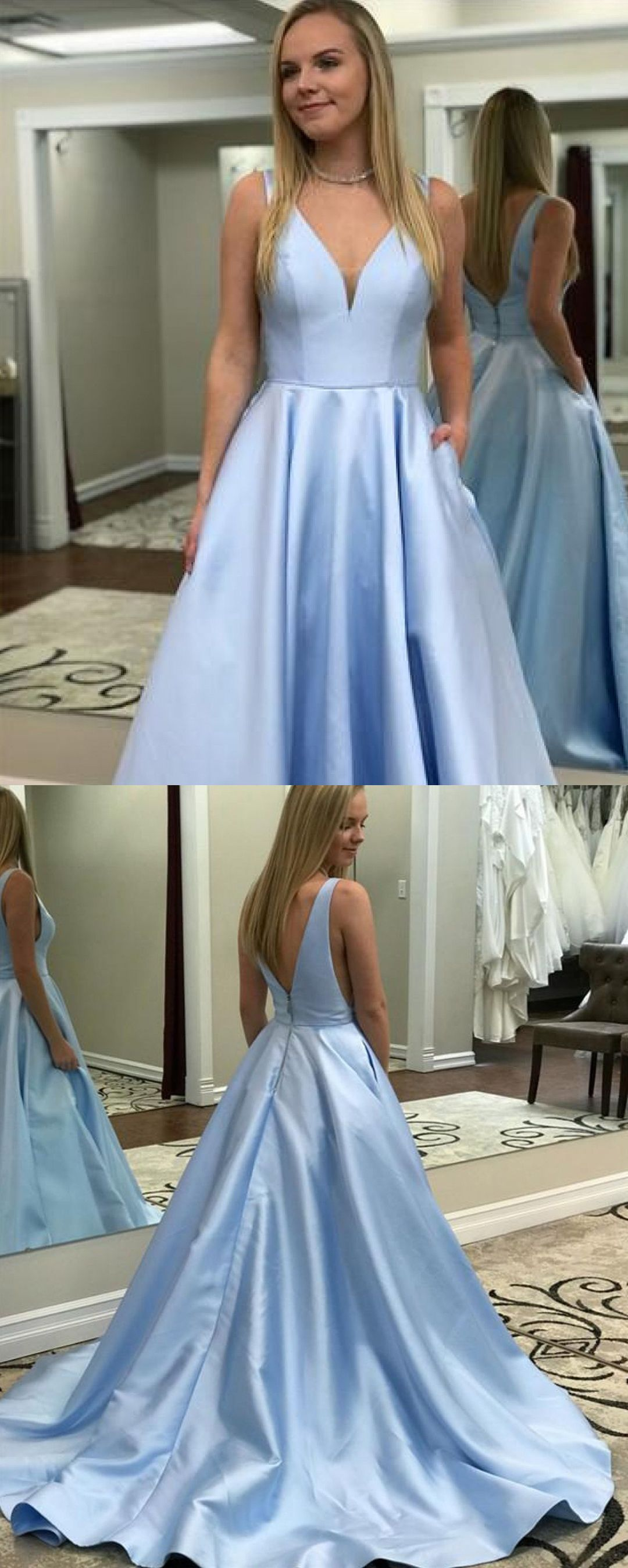 Vintage ball gown v neck open back prom dresses with train formal