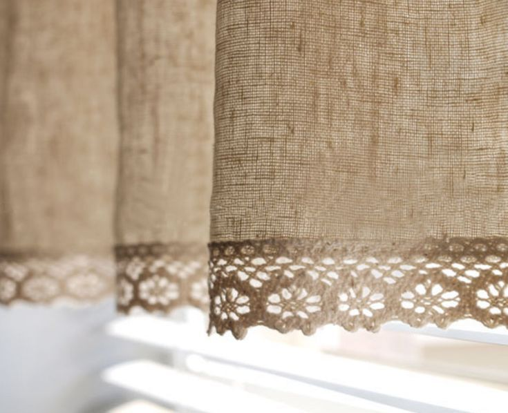 Natural Linen Cotton Blend Cafe Curtain Valance with Cotton Lace Trim One Panel 51W up to 28L Custom Size Available Made to order28L