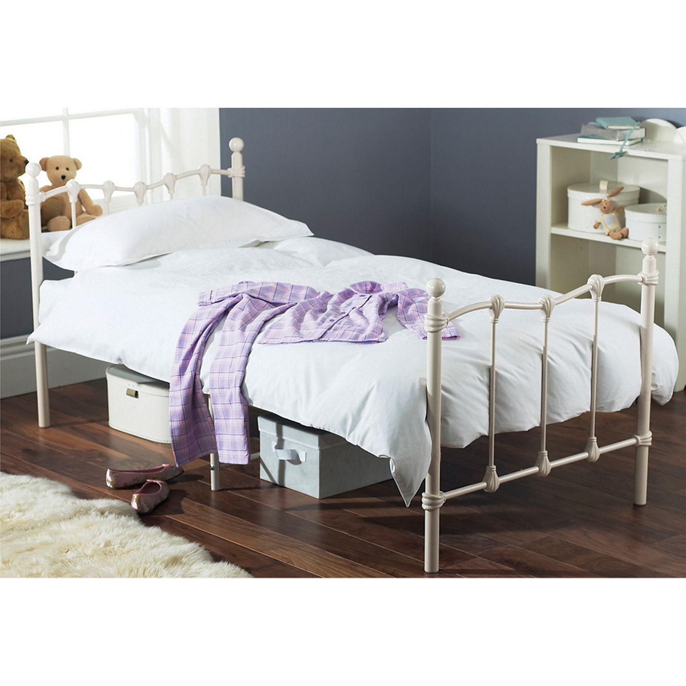 Darcey Single Bed Frame  Cream - Furniture - Asda