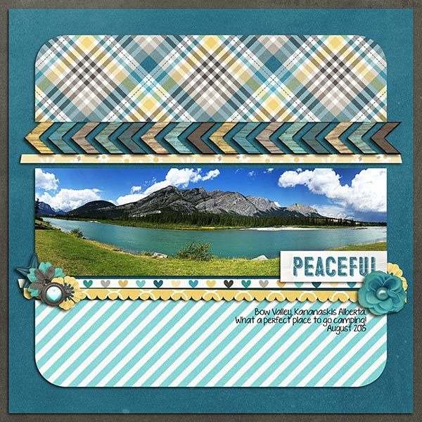 Peaceful Bow Valley | Calm - TDF June 2016 - Melissa Bennett | Collection 111 - Janet Phillips | #digitalscrapbooking #scrapbook