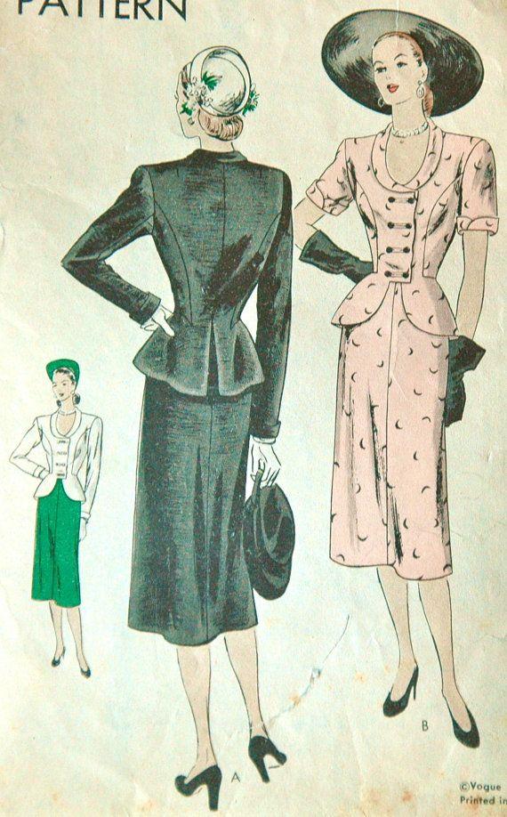 1940\'s Vogue Suit Dress Pattern - Bust 30 | Pinterest | Vintage ...