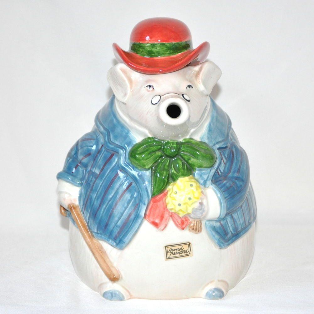 Fitz and Floyd Teapot Ceramic Pig Courting Gentlemen 1.5 Quart 1987 #FitzandFloyd