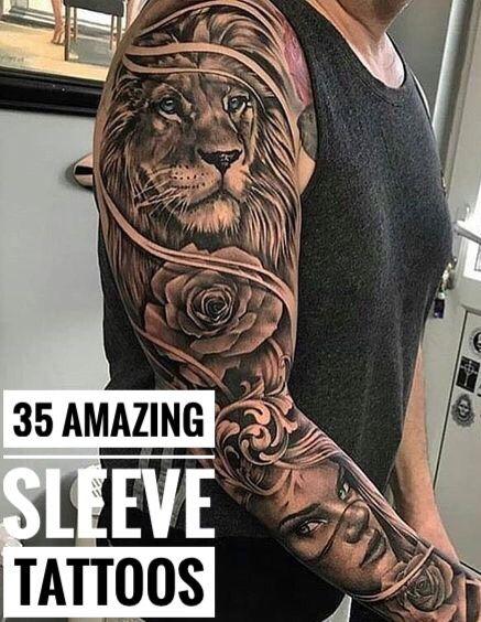 Lion Arm Sleeve : sleeve, Amazing, Sleeve, Tattoos, Tattoos,, Tattoo
