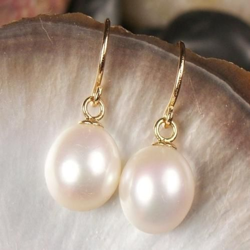 Large White Pearl Drop Earrings On Gold Filled Hooks 34 95 A Great Range