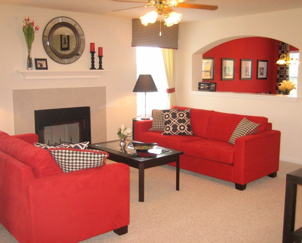 Cozy Red Couch Living Room Design