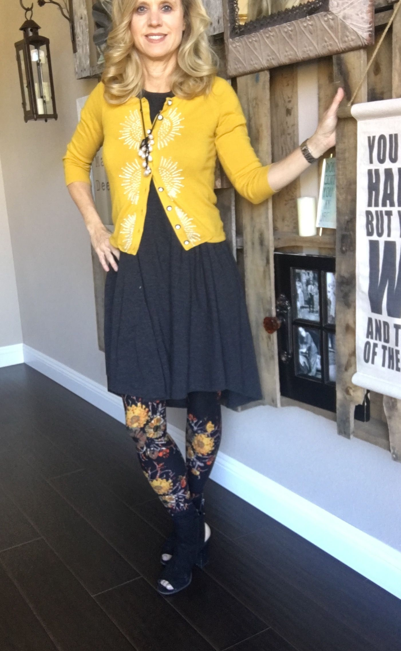 Bright yellow and sunflowers cheer up any chilly day! The LulaRoe Carly Dress is perfect for layering over LulaRoe Leggings! Toss over a cardigan for an added warmth and dimension!