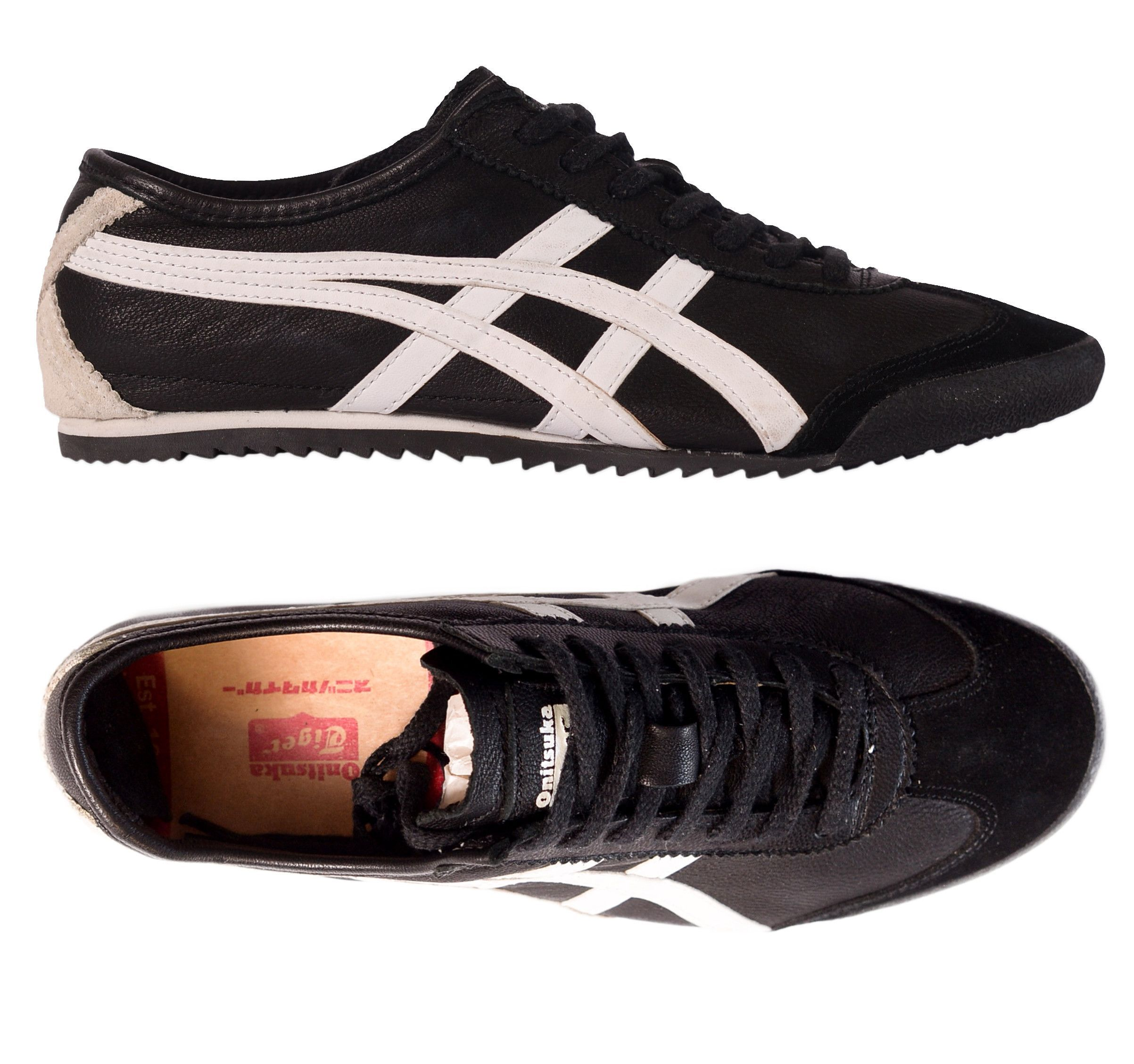ASICS BY KIHACHIRO ONITSUKA Tiger Black Leather Sneakers Shoes EU 42 NEW US  8.5