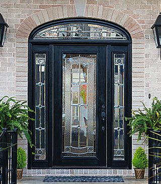 Elaborate Door Glass With Black Chrome Detail Is Beautiful