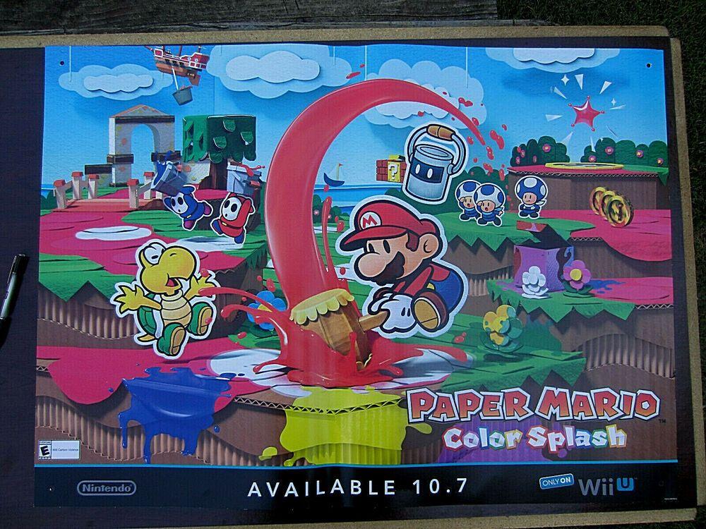 Nintendo Paper Mario Color Splash Game Store Display Promo Poster