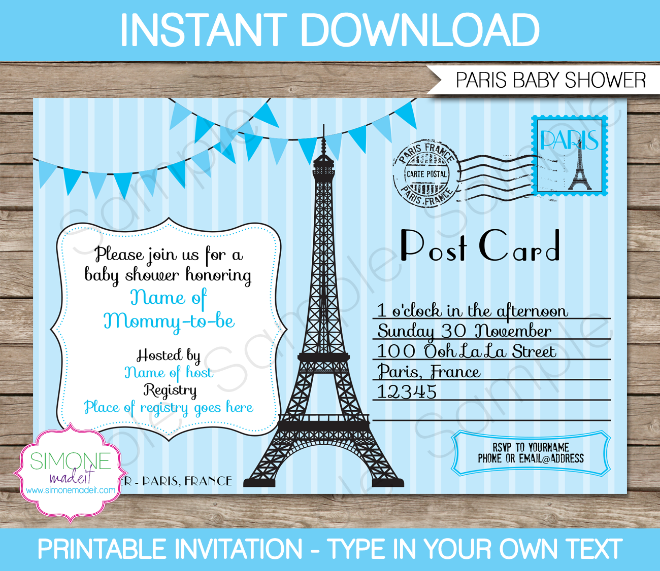 Paris Baby Shower Invitation  Blue  Paris Baby Shower Baby