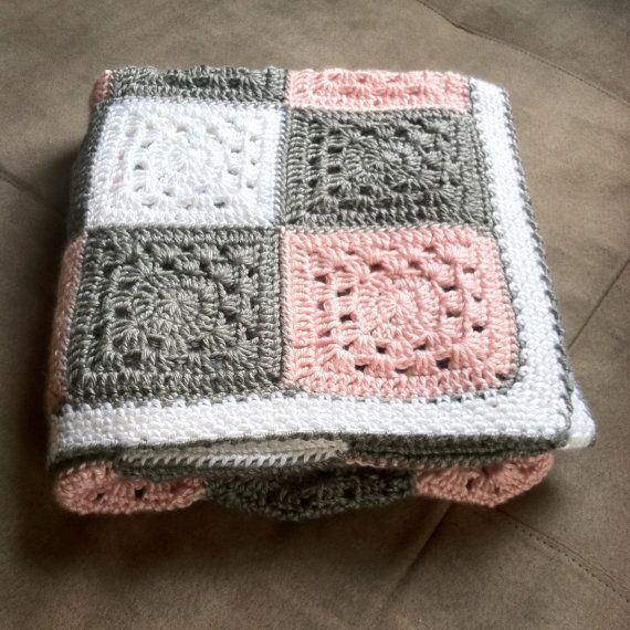 Crochet Pink Gray And White Gingham Baby Blanket Hand Made