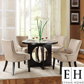 Westmont Piece Beige Linen Inch Round Dining Set For The Home - 42 round dining table and chairs
