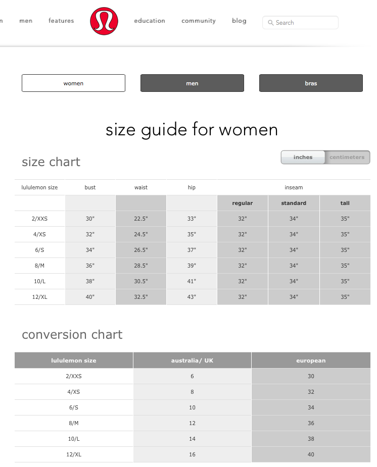 Sizing Chart For Women From Lululemon Sizing Charts For Women S