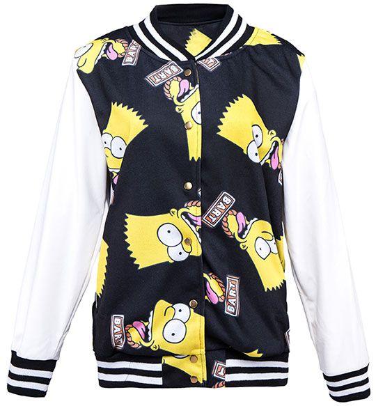 Bart Simpson Printed Contrast Baseball Jacket