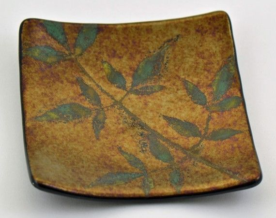 frit and real leaf - fossil vitra. Try this when we have leaves here again!