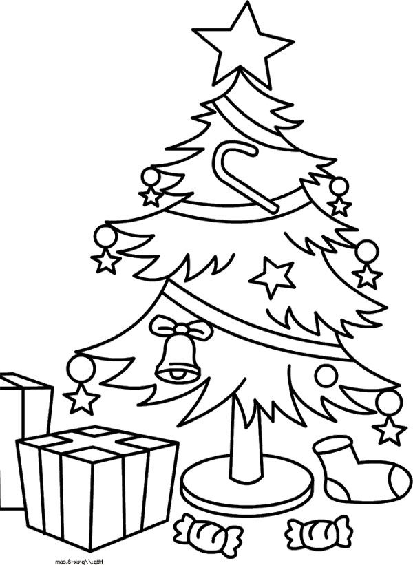 Christmas Tree And Gift Coloring Page Tree Pinterest Coloring Page Of Tree With Presents