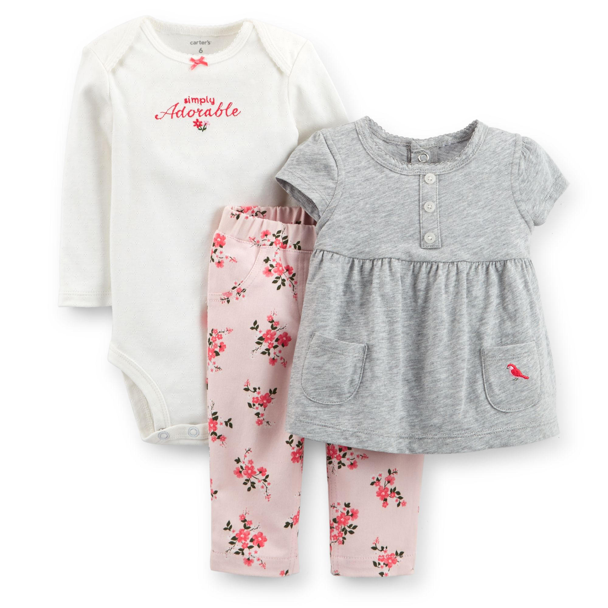 Conjunto 3 Piezas Carters Baby Girl Baby Girl Outfits Newborn Carters Clothing