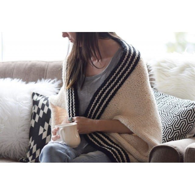 Classic Stripe Knit Blanket Sweater Kit #blanketsweater