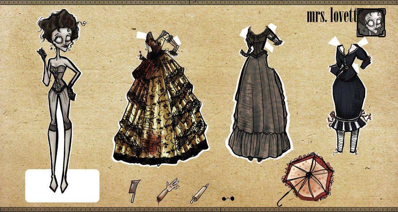 + Mrs. Lovett Paper Dolls + by ~esscoh on deviantART