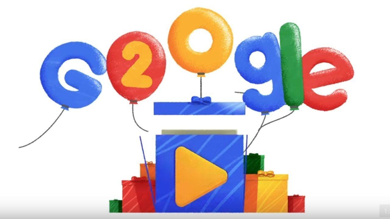 Google 20th Birthday Google Doodle Google Googledoodle Googlebirthday Happybirthdaygoogle 20th Birthday Happy Birthday Google Birthday Doodles