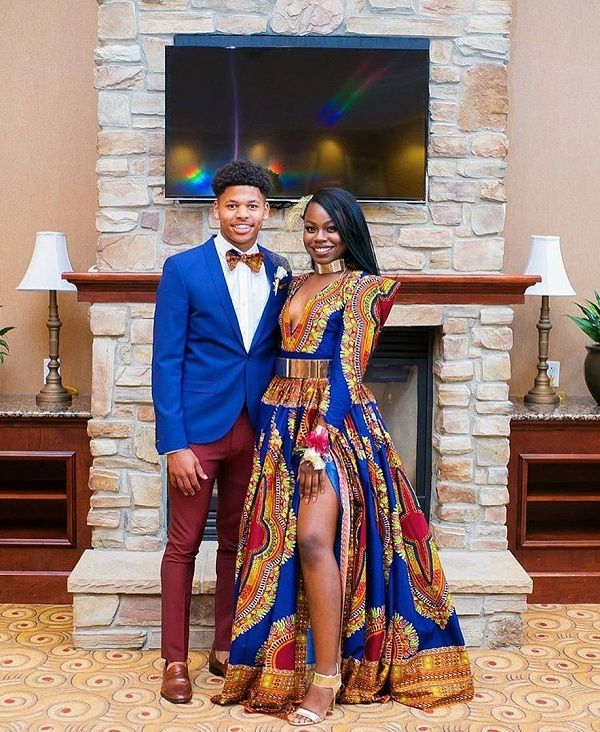 Traditional African American Prom Dress Idea For Sweet Couple Prom