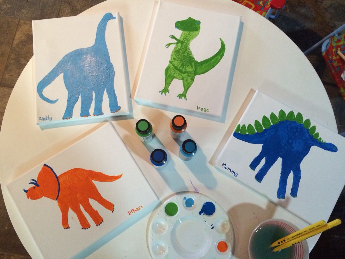 Dinosaur arts and crafts - Handprint Dinosaurs Footprint T Rex To Hang As Art In The Kids Room