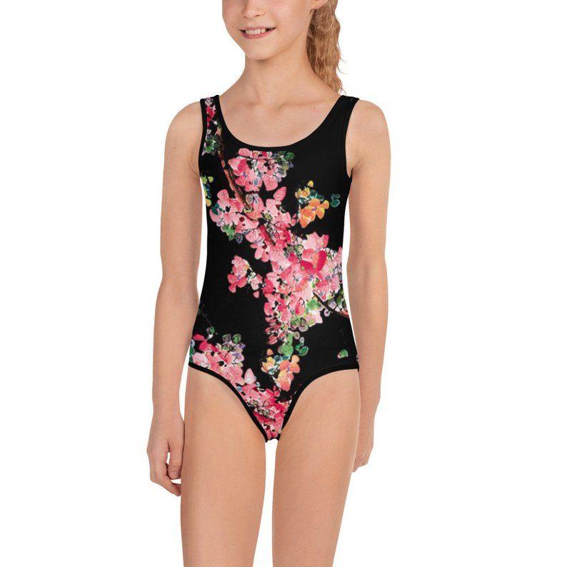 83eb35e49eff7 Sakura Cherry Blossom Floral Swimsuit Toddler Swimsuit Girls | Etsy ...