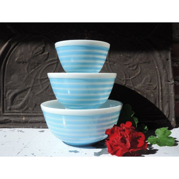 Vintage Pyrex Nesting Bowls Set of Three Blue Striped Mixing Bowls ...