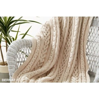 Braided Cables Knit Throw | Yarnspirations | Bernat Maker Home Dec ...