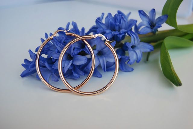 Hoops and hyacinth.  18k rose gold hoop earrings, $369 on lazooli.com