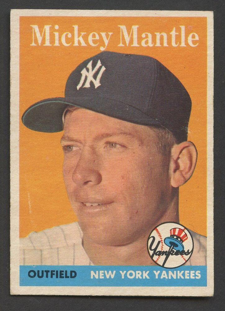 1958 topps 150 mickey mantle new york yankees hof exmt