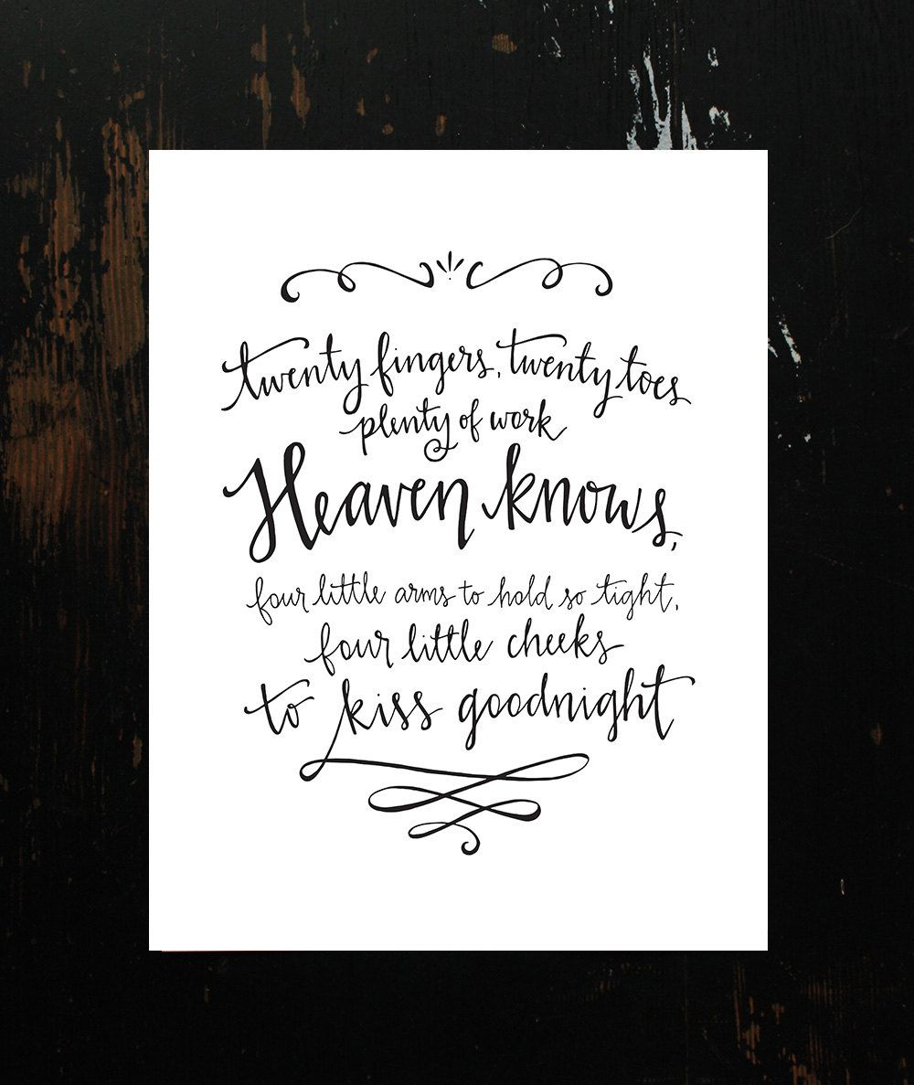 Twins Poem HandLettering Printable by on