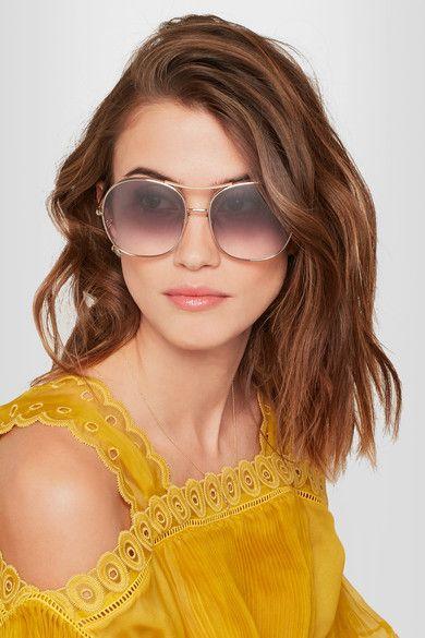 a38c2d50f7c1 CHLOÉ Nola oversized square-frame gold-tone stylish sunglasses ...