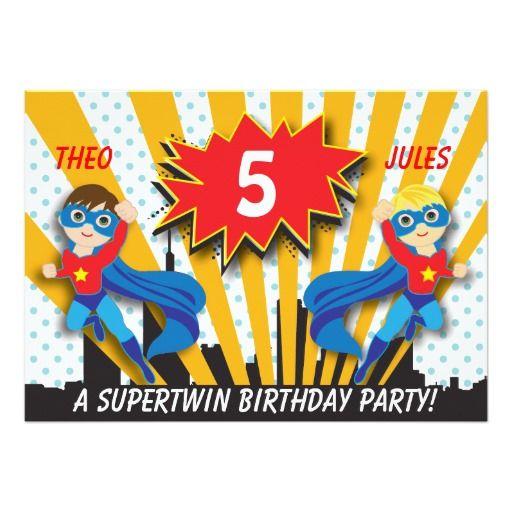 Twins Superhero Birthday   Boys Brown/Blonde Hair Invitation