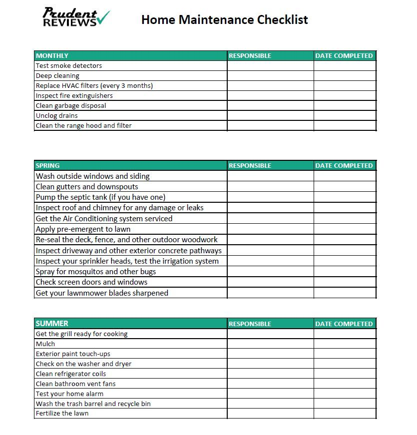Use This Free Printable Home Maintenance Checklist To