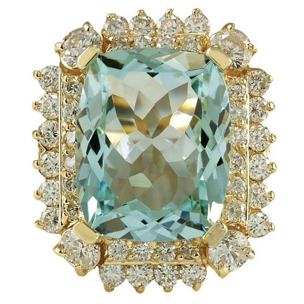 Pre owned 14K Yellow Gold Aquamarine Diamond Gold Ring Size 7
