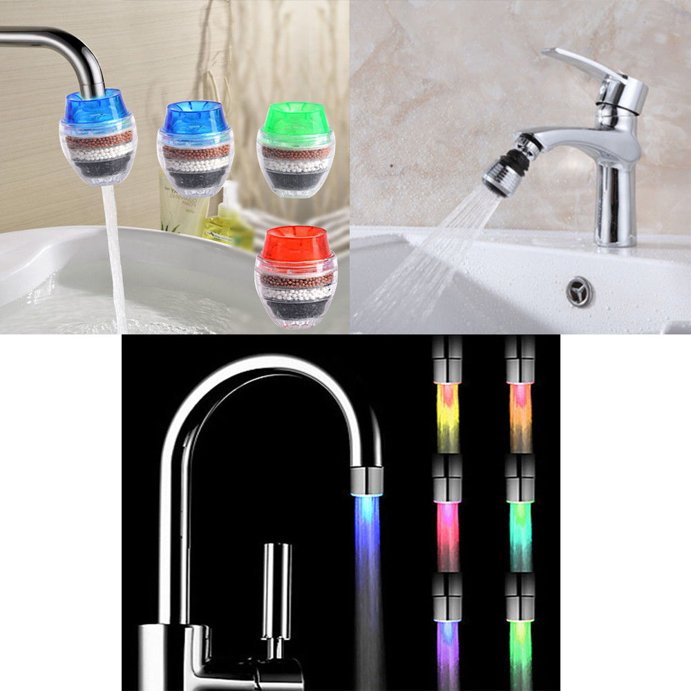 $1.18 - Color Led Light Water Stream Faucet Coconut Carbon Save ...