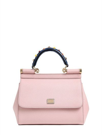 DOLCE   GABBANA - SMALL SICILY DAUPHINE LEATHER BAG - TOP HANDLES - LIGHT  PINK - 32ef51ae35